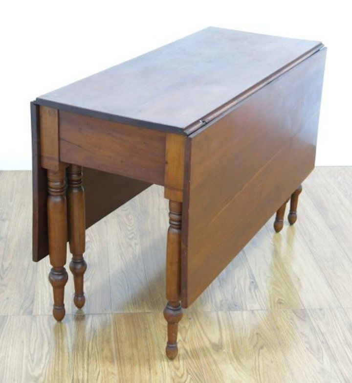 Antique Early Cherry Drop Leaf Spindle Legs Table Console Dining Sofa Vintage Table Antique Drop Leaf Table Staining Furniture