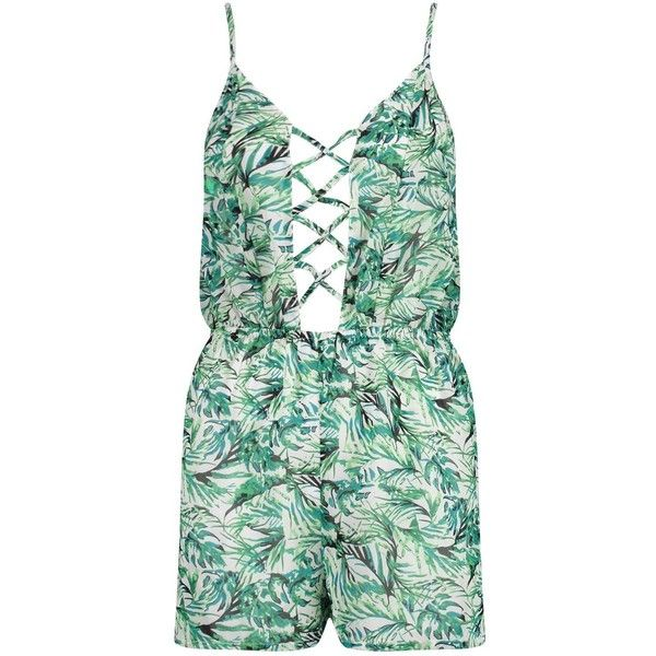 341689d8a27 Boohoo Erin Tropical Leaf Lace Up Beach Playsuit ( 26) ❤ liked on Polyvore  featuring romper and high waisted two piece