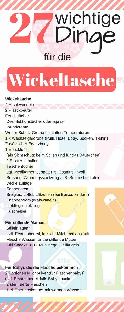 Checkliste Wickeltasche - Was gehört in die Wickeltasche ...