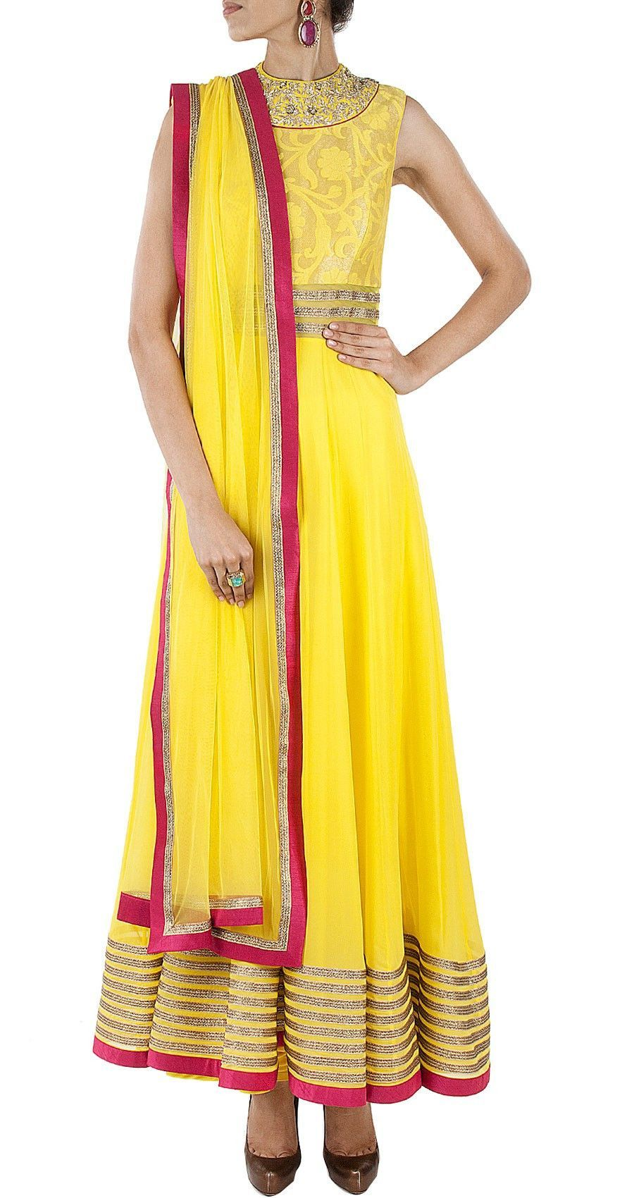 Yellow color long anarkali salwar kameez in clothes and