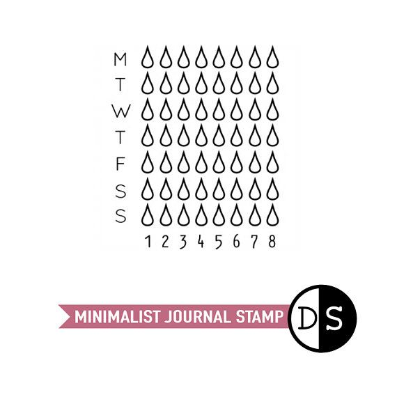 Weekly Water Tracker, Personal Journal Stamp, Hydrate Tracker, Journal, Travellers Notebook, Clear Stamps for Planners, 1.8x1.5 (txt39) #watertrackerbulletjournal