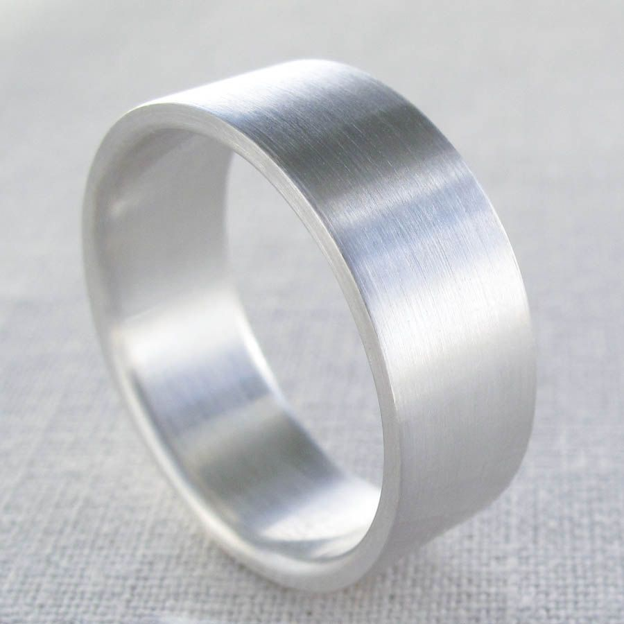 Men S Silver Wedding Band 8mm X 1 5mm Wide Flat Fat Thick Mens Ring Gold Platinum Palladium Bands 110 00 Via Etsy
