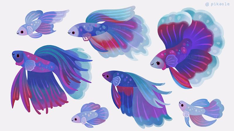 Blue Betta By Pikaole Fish Drawings Fish Art Animal Art