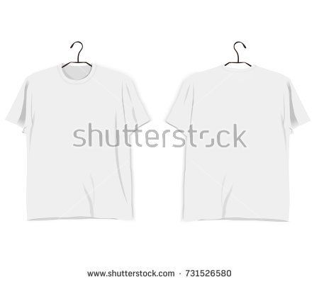 Vector Realistic T Shirt Mockup Template Back And Front White