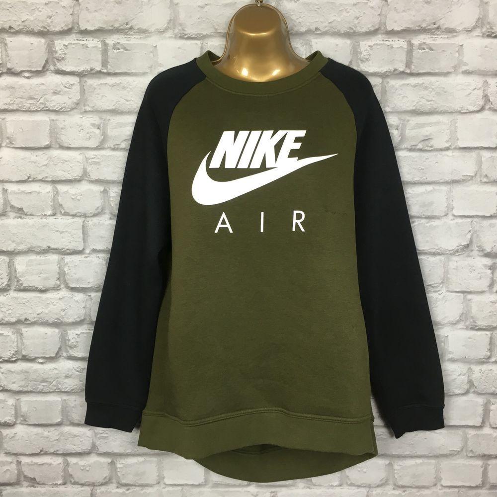 Nike Air Ladies Uk L Crew Sweatshirt Khaki Black Cosy Winter Fashion Clothing Shoes Accessories Womensclothing Sweatshirts Crew Sweatshirts Casual Outfits [ 1000 x 1000 Pixel ]