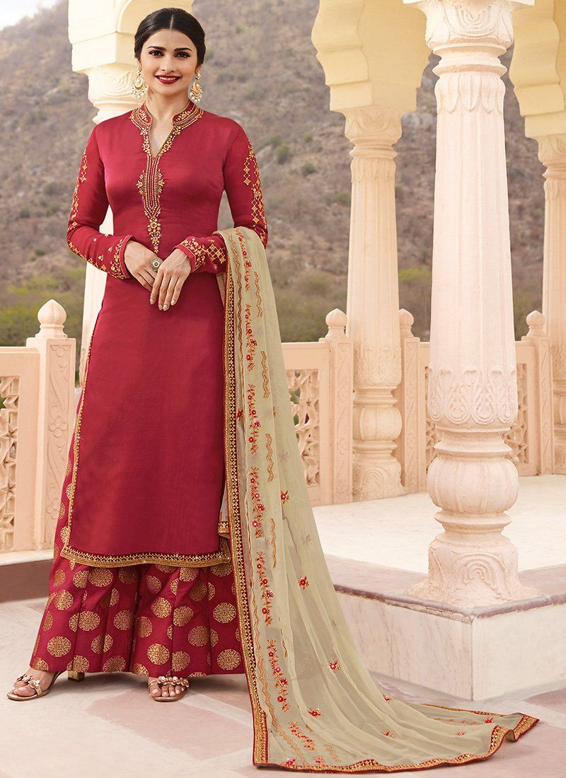 8235150988 Red and Gold Embroidered Sharara Suit | pUnJAbI sUit | Palazzo suit ...