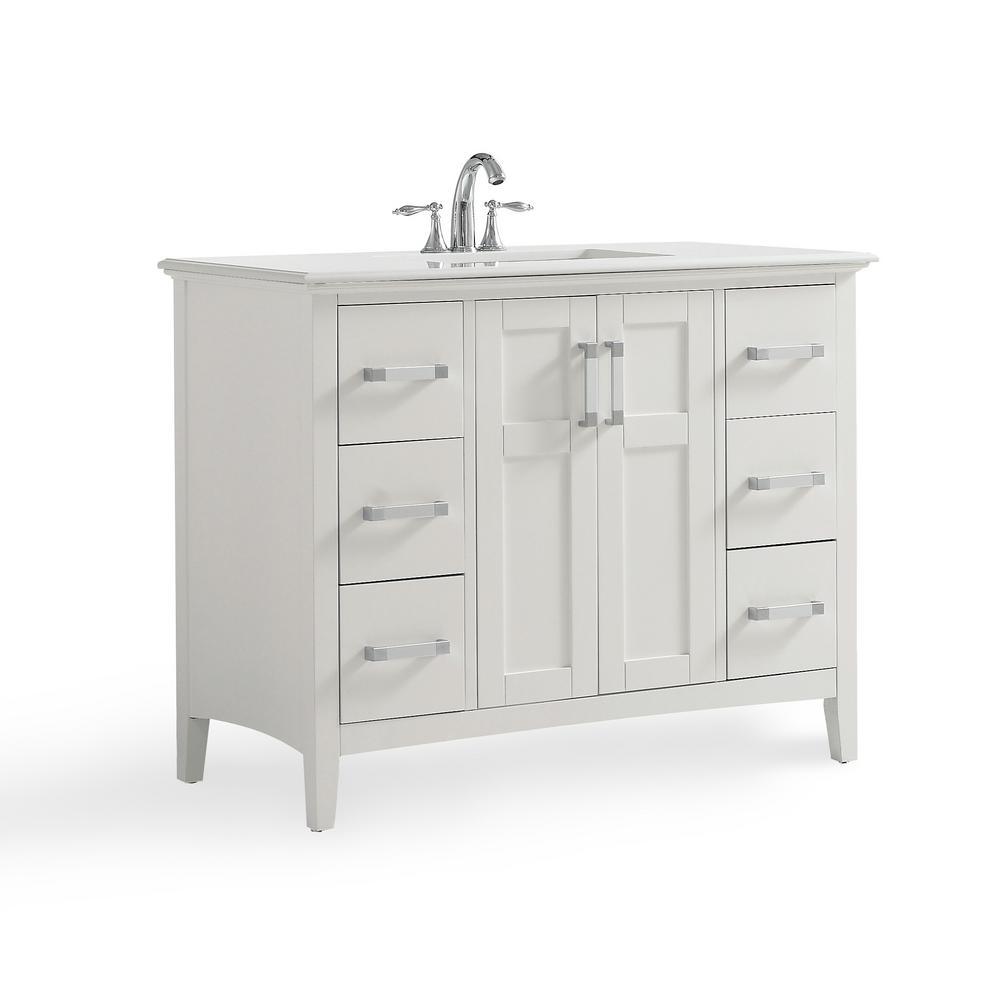 Simpli Home Winston 42 In W X 22 In D Bath Vanity In Soft White