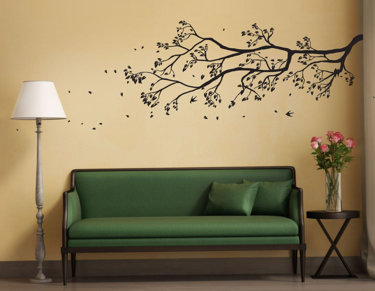 Tree Branch Wall Sticker with falling leaves and birds perched ...