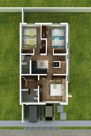 planos de casas de dos pisos de 7 metros de frente