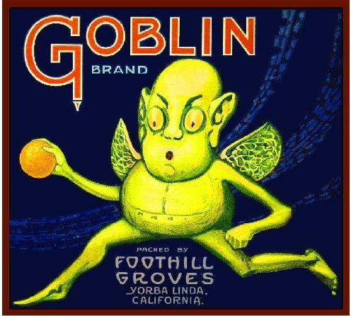 Yorba Linda Orange County Goblin Halloween Orange Citrus Fruit Crate Label Art Print. $9.99, via Etsy.