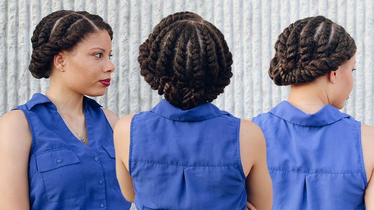 Quick u easy protective style flat twist updo natural hair