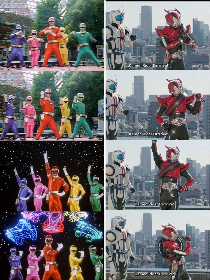 here is the comparison shot of drive doing the carranger pose
