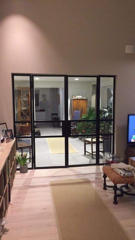 Glass and steel doors