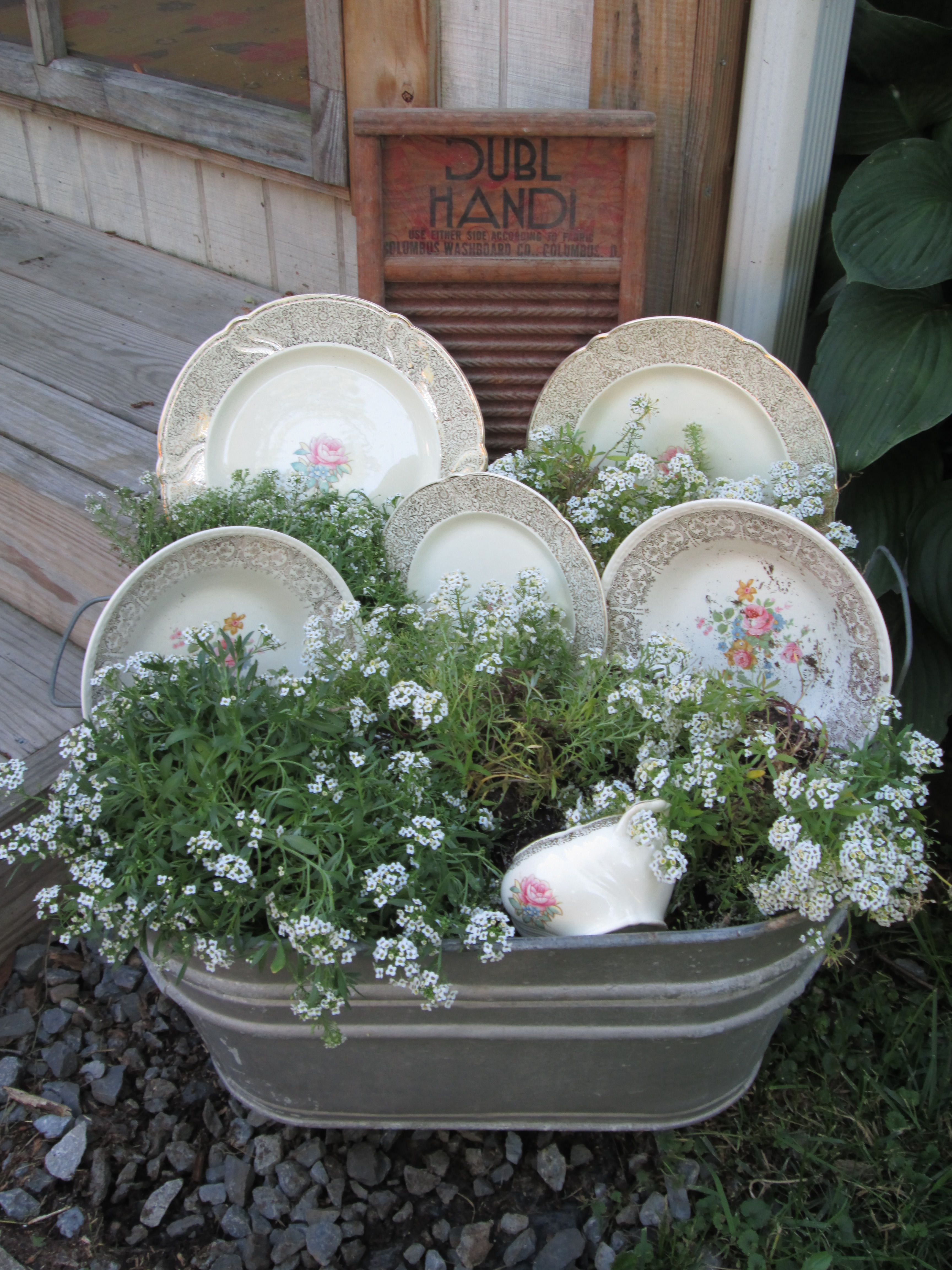 Vintage Wash Tub Flower Arrangement Just Put This Together Last Night So Easy Container Herb Garden Flower Arrangements Garden Containers