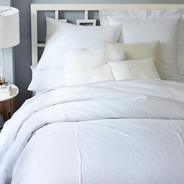 Bedroom Ideas Student Bedroom Furniture Layout Square Room High Bedroom Sets Master Bedroom Ideas Red: Square Eyelet Duvet Cover + Shams For A Crisp White