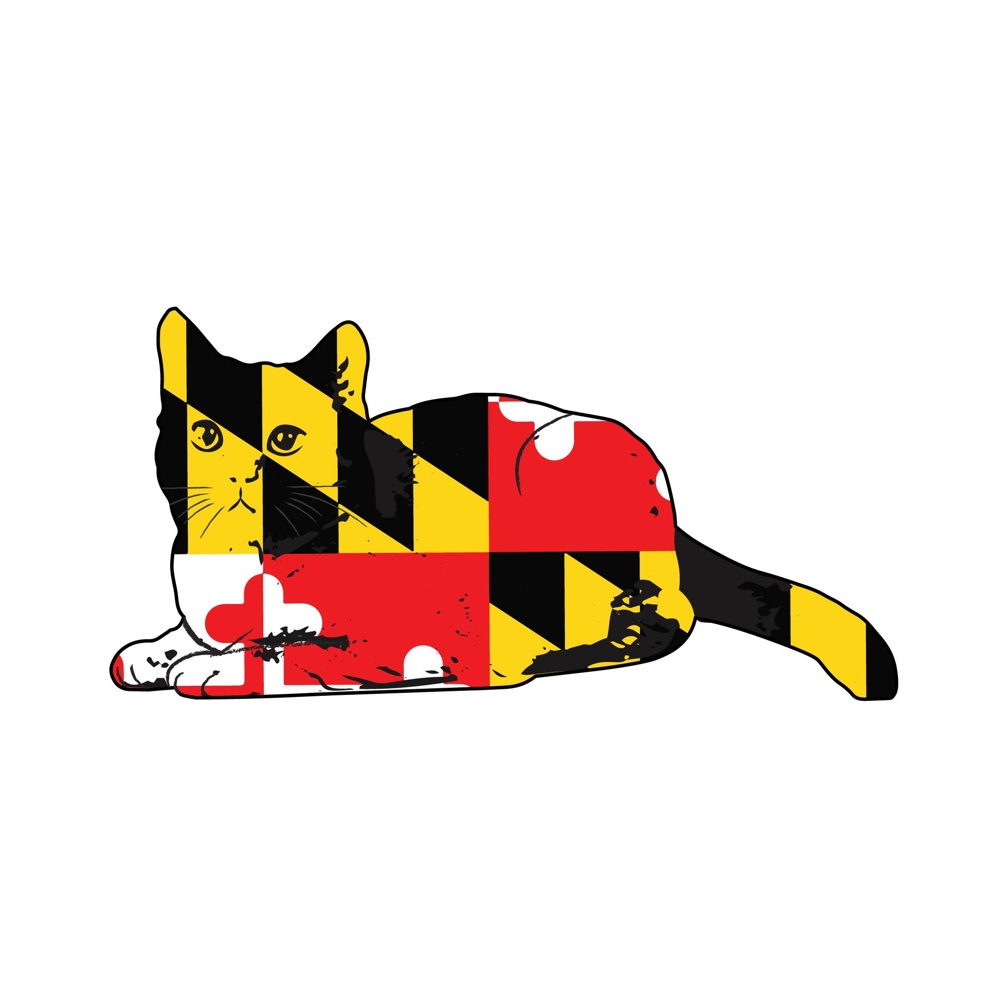 Maryland Flag Cat Car Decal Maryland State Flag Cat Sticker Etsy In 2020 Cat Stickers Maryland Flag Decal Maryland Flag
