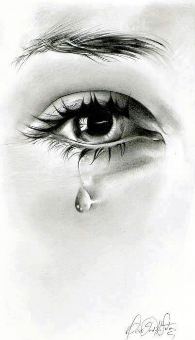 Eye crying tears black and white dress