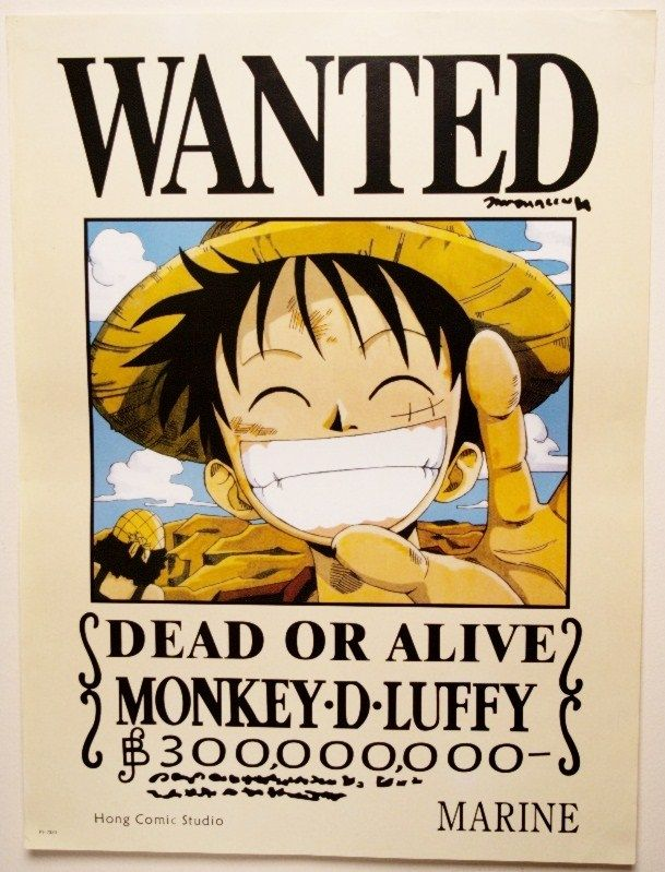 One piece wanted poster of monkey d luffy 42cmx57cm mymzone - One piece wanted luffy ...