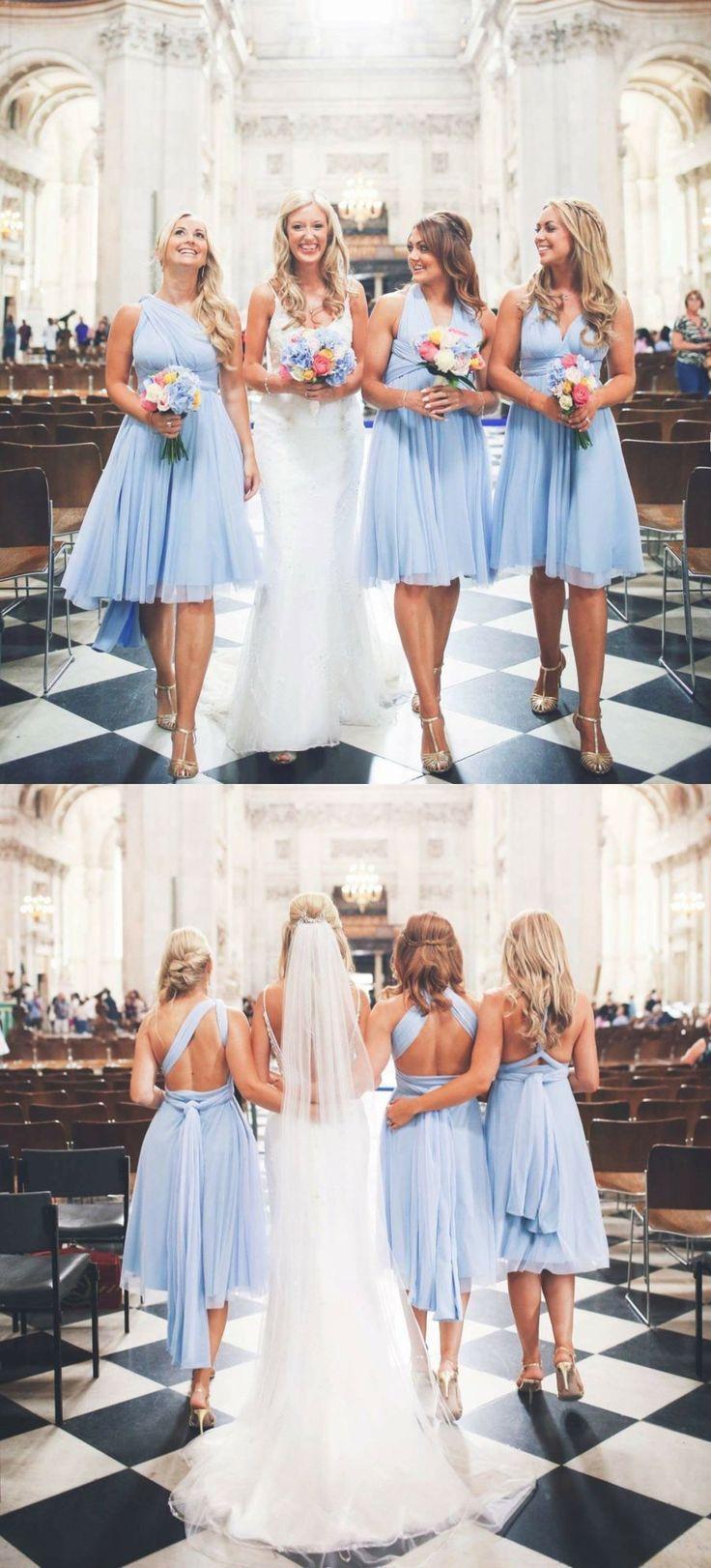 »A-line V-neck Open Again Chiffon Gentle Blue Quick Bridesmaid Attire Below 100