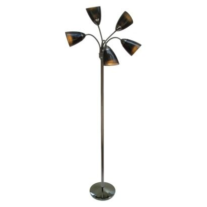 Multi Arm Double Shade Floor Lamp Black Nickel Finish