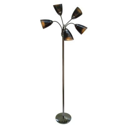 Multi Arm Double Shade Floor Lamp Black Nickel Finish Lamp