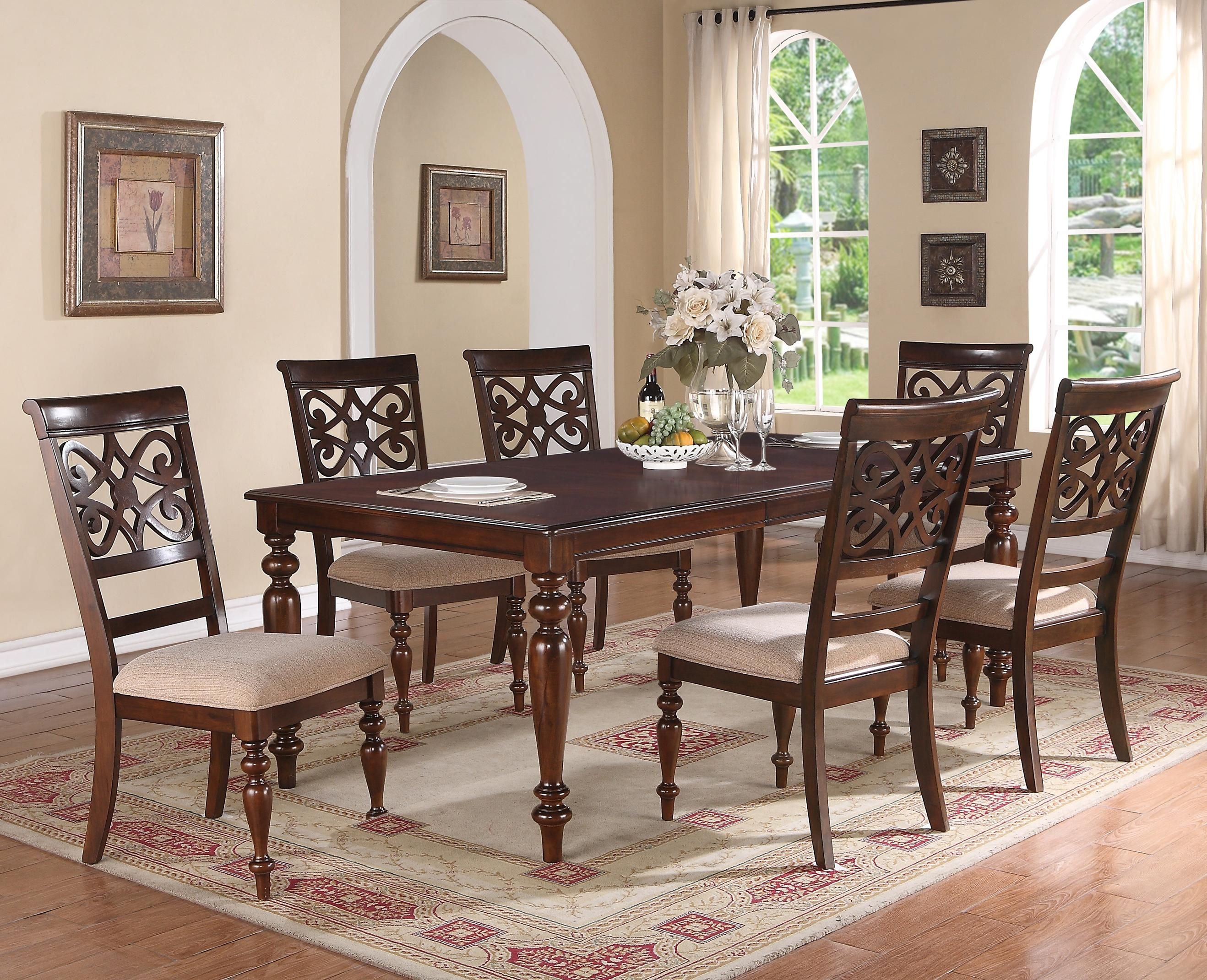 Aurora 7 Piece Table And Chairs Set By Crown Mark Dining Room