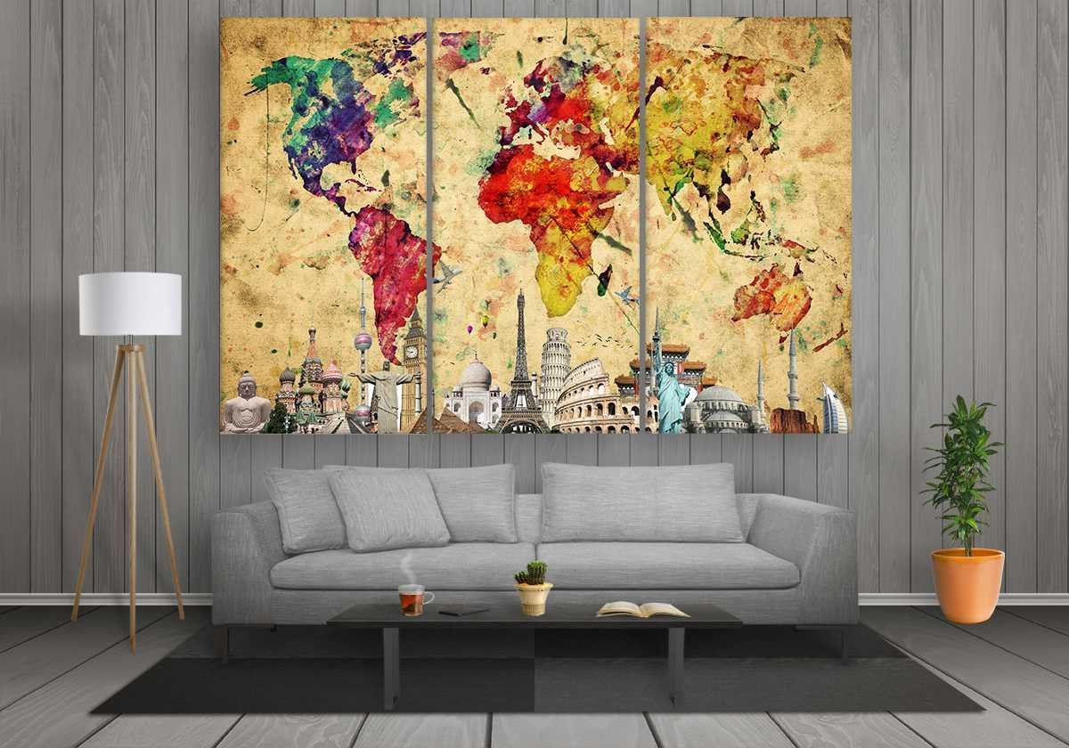 World Map with Monuments (Colourful Abstract) | 3 panel canvases ...