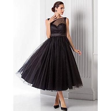 A-Line Princess Illusion Neckline Tea Length Tulle Homecoming Prom ...
