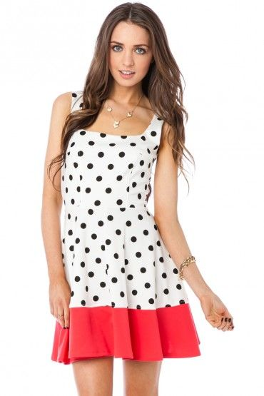Fit and Flare Polka Dotted Dress