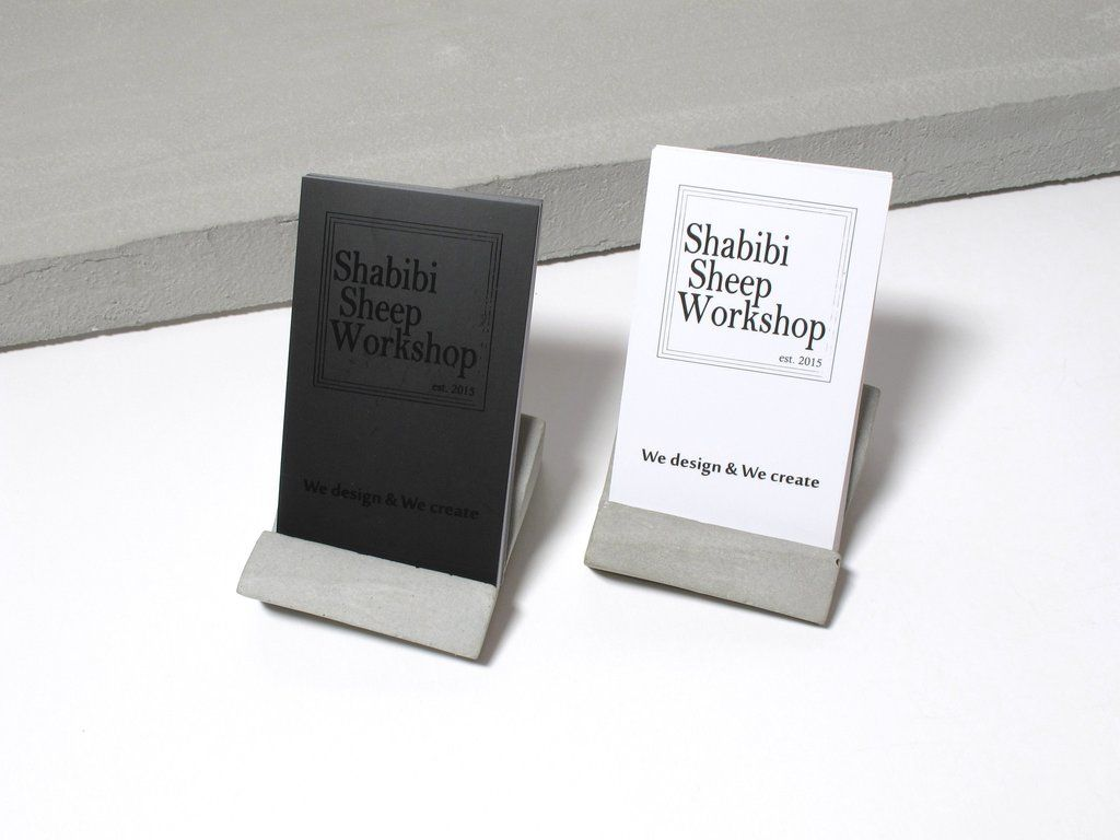 Concrete desktop business card holder (Vertical business cards ...