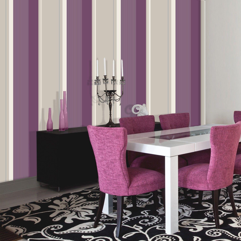 Crown Millie Stripe Wallpaper In Plum LoungeBedrooms