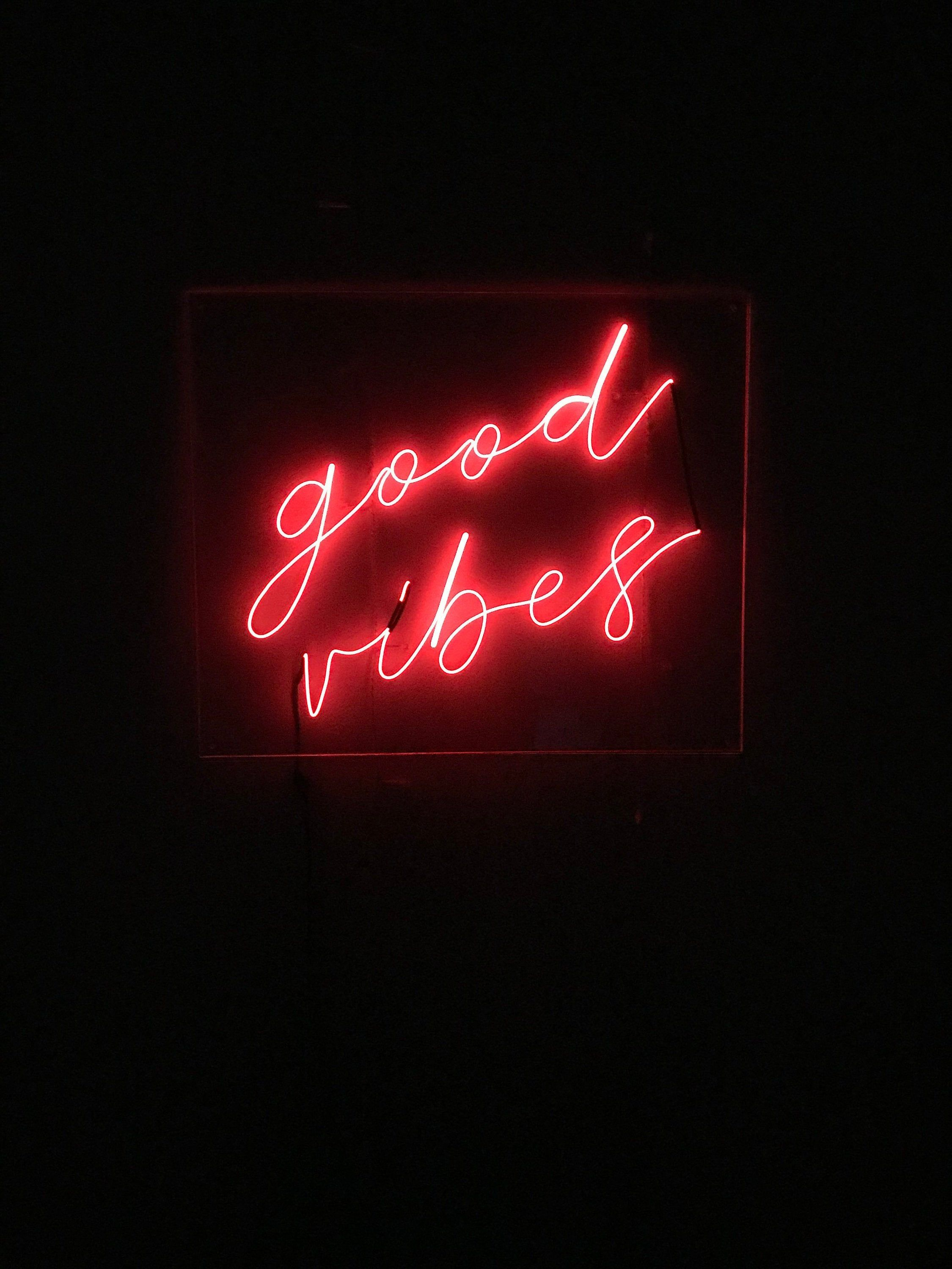 Good Vibes Neon Sign 18 In X 15 In Custom Handmade Red And Black Wallpaper Red Aesthetic Grunge Black Aesthetic Wallpaper