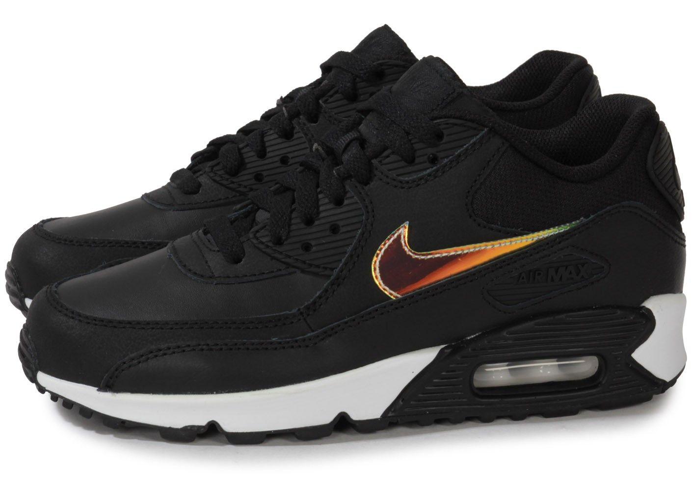 Chaussures Nike AIR MAX 90 NOIR IRIDESCENT JUNIOR vue