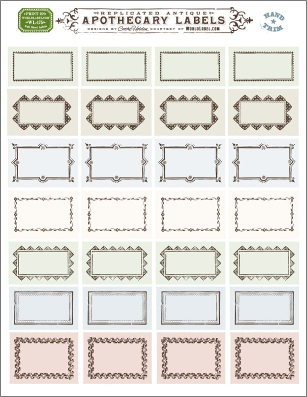 ornate apothecary blank labels by cathe holden blogworldlabel - blank label template