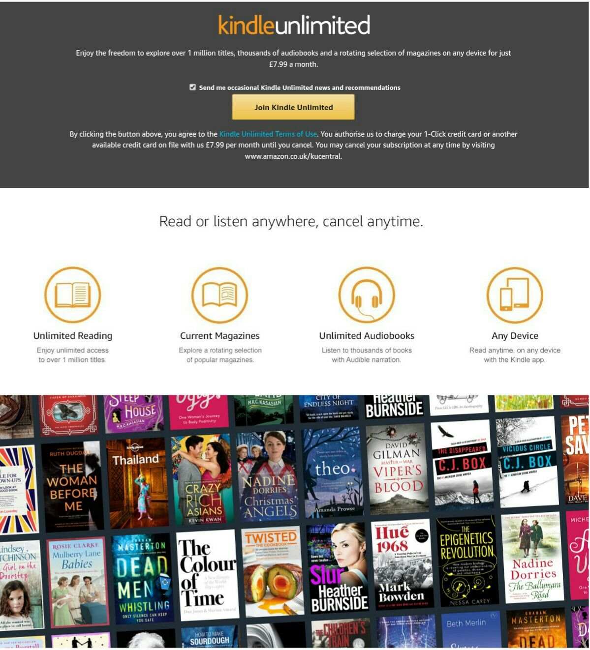 30 Day FREE Kindle Unlimited trial  The Kindle Unlimited