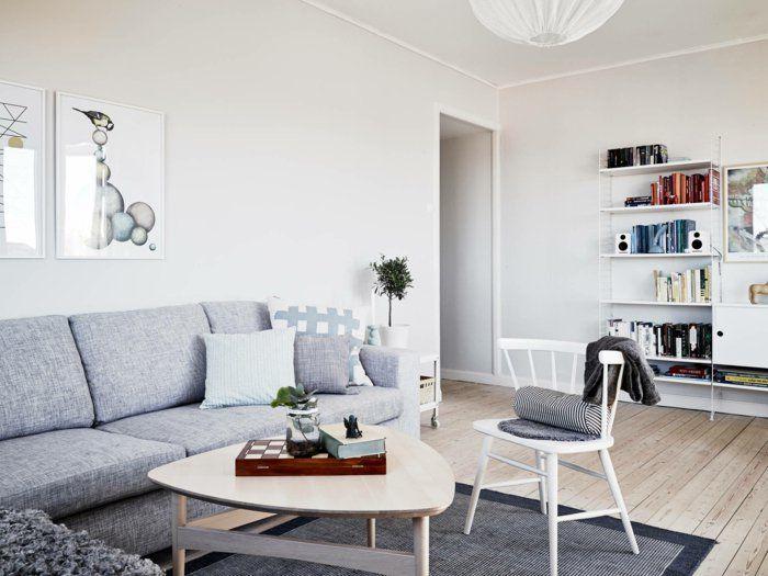 Skandinavisch Einrichten Wohnzimmer Grauer Teppich Cooler Couchtisch