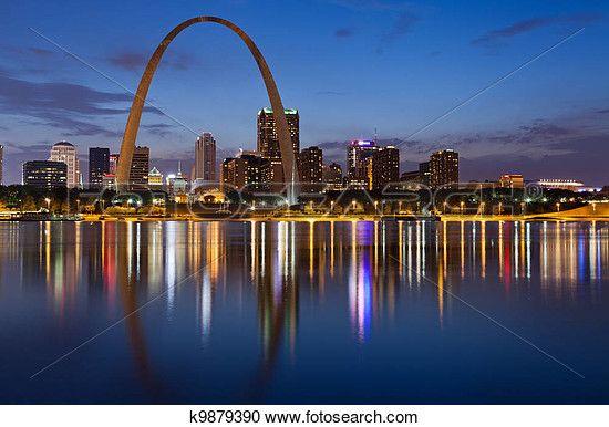 100 Digital Photo of St.Louis Kansas City Missouri Skyline Gateway Arch Downtown