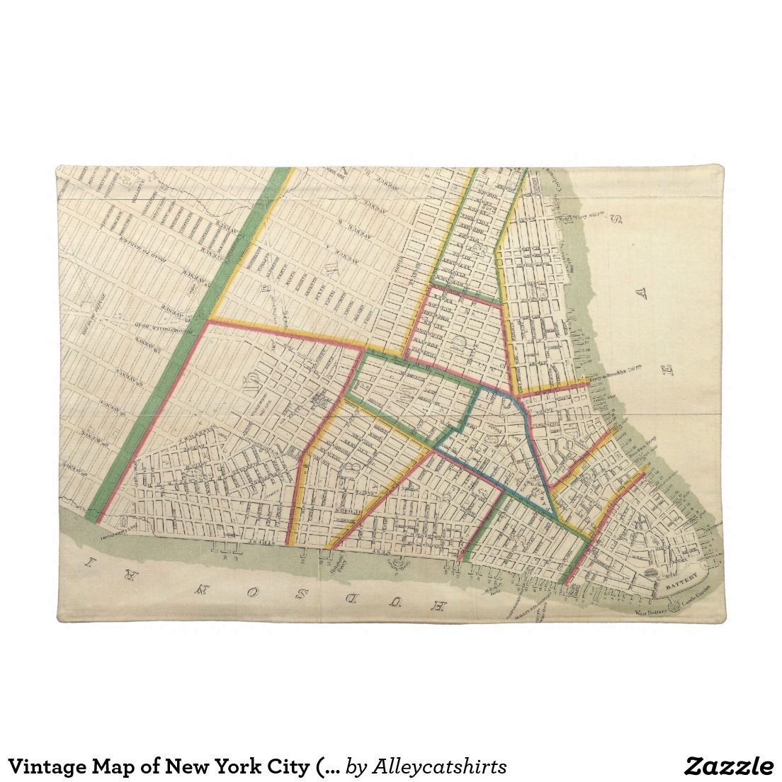 Vintage Map Of New York City 1831 Placemat Map Of New York New York City Map Vintage Map
