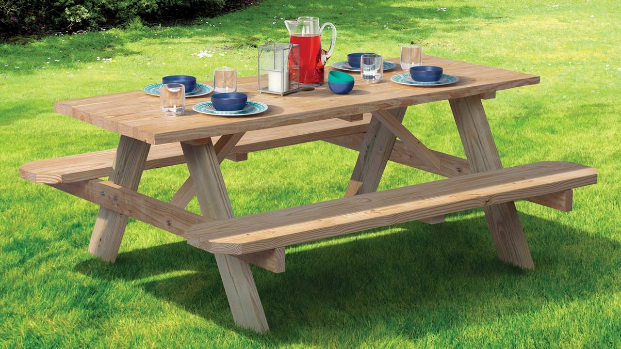Solid Wood Picnic Table Made With Pressure Treated Solid Wood For