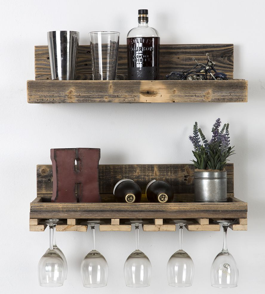 Reclaimed Wood Floating Shelf & Wine Rack Set - Reclaimed Wood Floating Shelf & Wine Rack Set Glasses, Wine