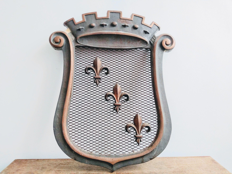Vintage French Fleur De Lis Metal Shield Vent Ventilation