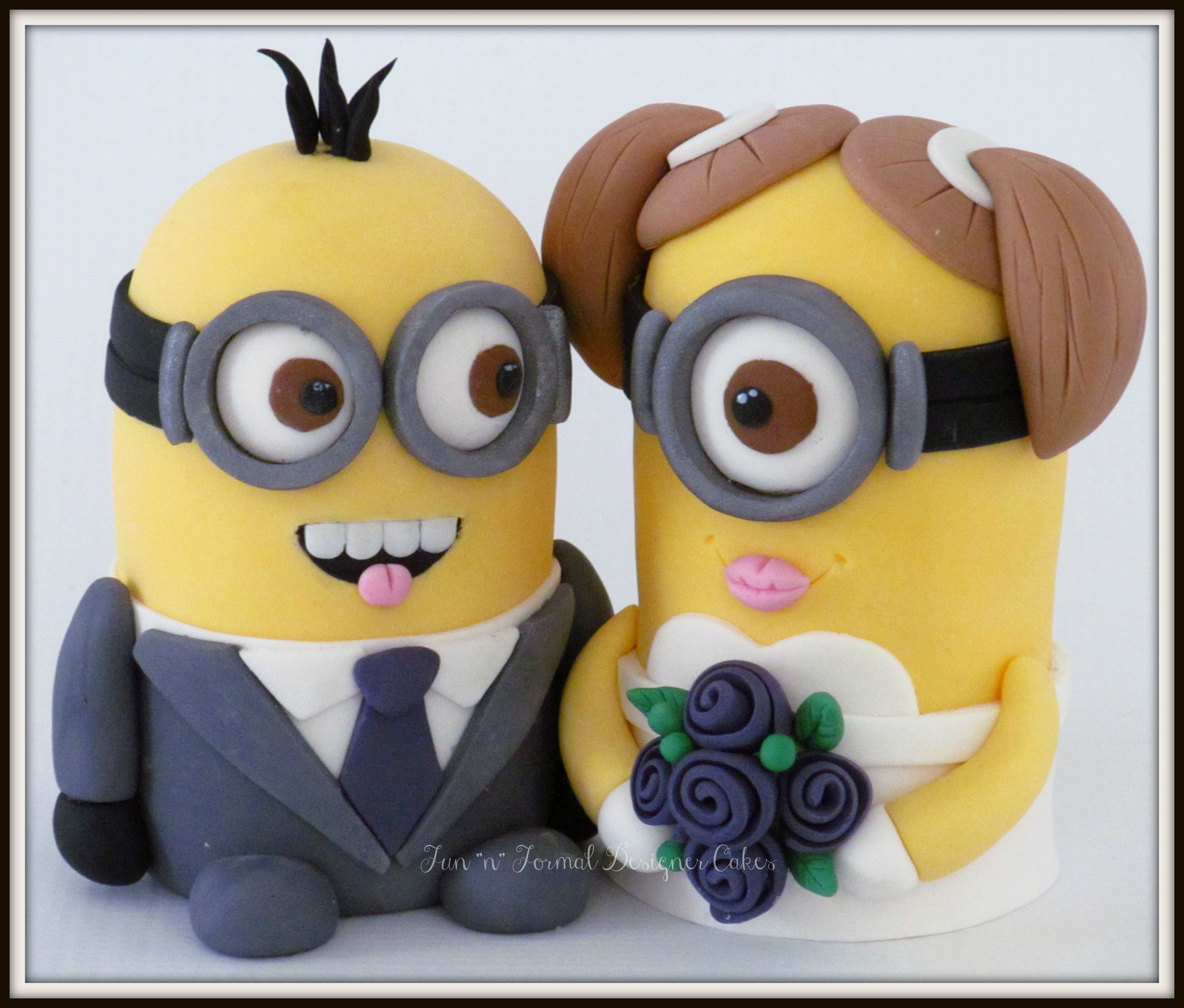 Minion bride and groom wedding cake topper. | Clay dolls | Pinterest ...