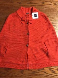 e12b2e05848dec Janie And Jack Girls Size 4 Orange Sweater Cape, Poncho New With Tag | eBay
