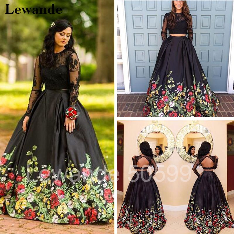 Floral Printed Two Piece Prom Dress Lace Long Sleeve Open Back Satin  Pageant Evening Gown Lewande A-line Flower Pattern Skirt a3f8f8b33