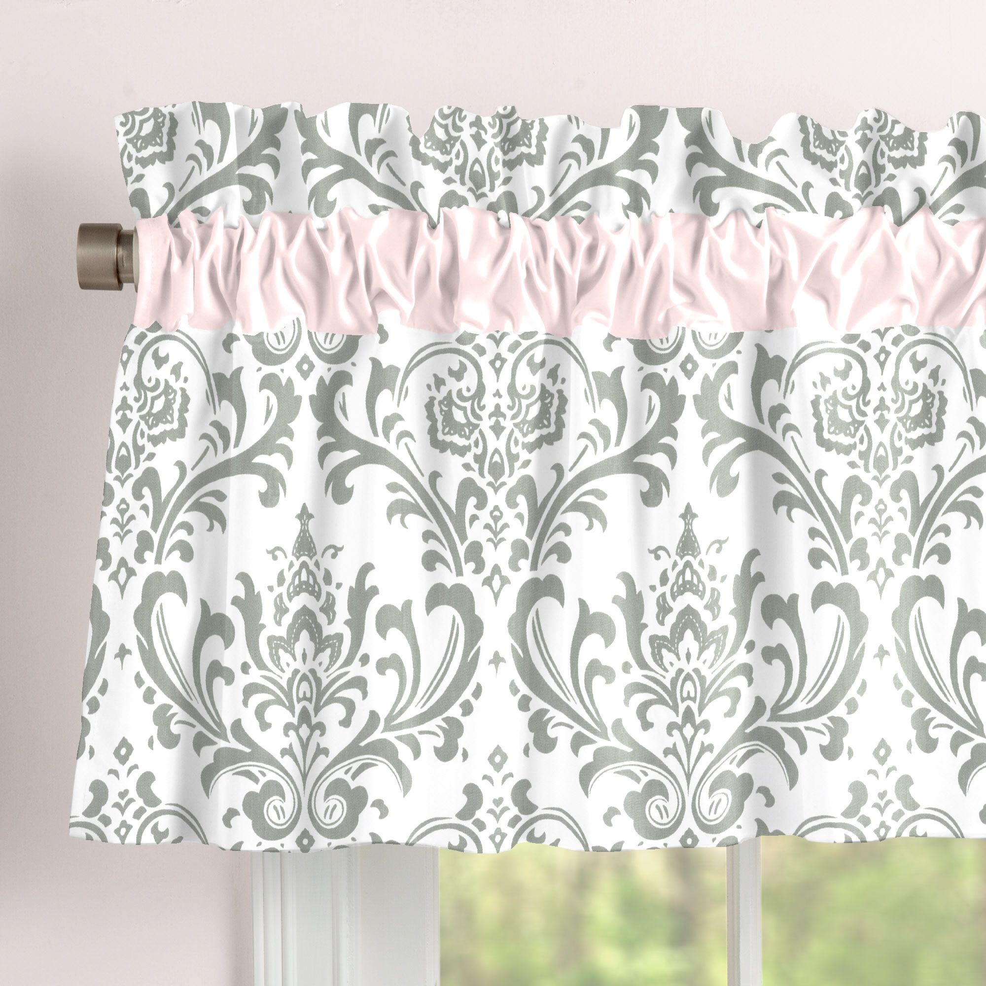 Pink And Gray Traditions Window Valance Rod Pocket In