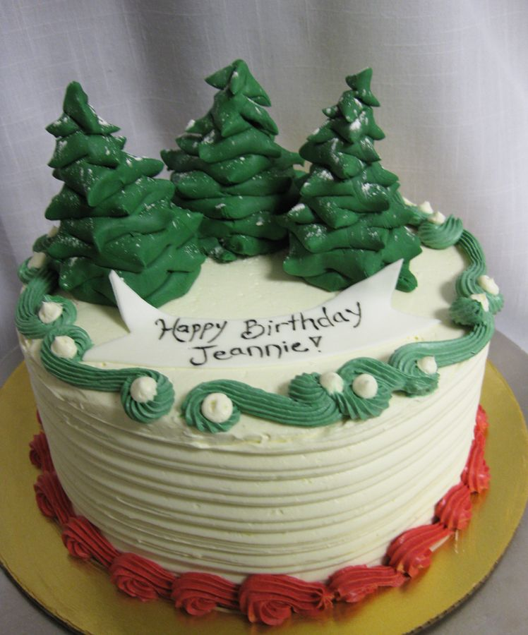 Winter Trees Cake I Like The Snow On The Trees Christmas Cake Winter Cake Cake