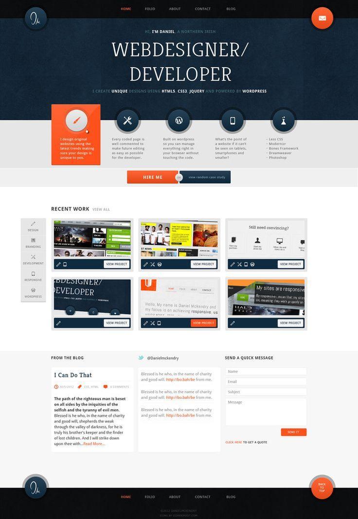 Successful Navy And Orange Personal Portfolio By Danielmckendry If You Like Ux Design Or Design Thi Web Design Website Design Layout Web Development Design