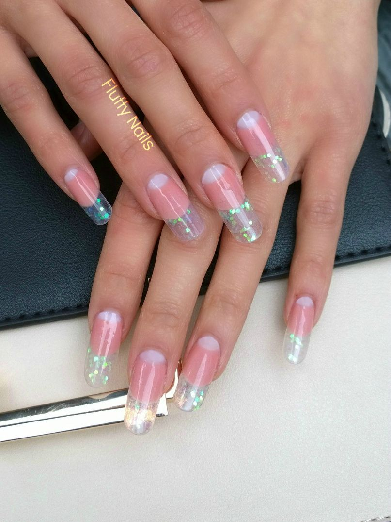 Gel nails with encrusted glitter, artificial drawn lunula, nails by ...