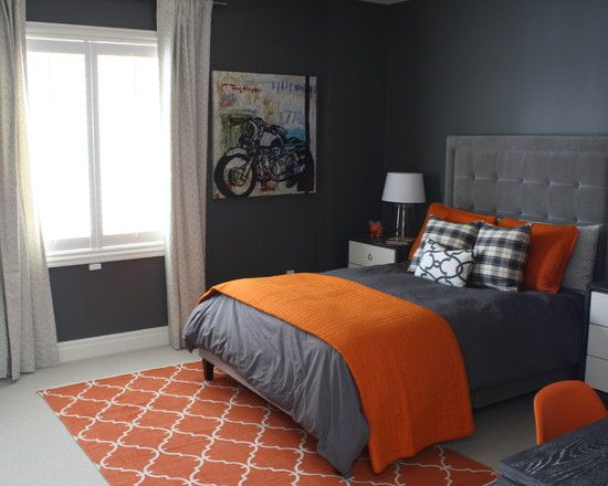 Inspiring masculine bedrom with motorcycle drawing - Grey and orange bedroom ...