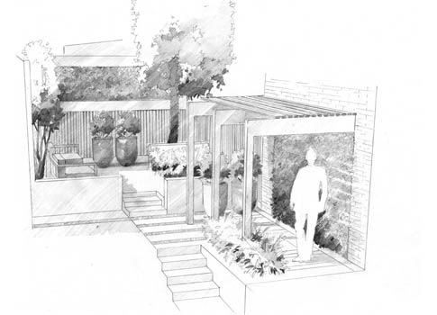 perspective landscape garden design drawing | illustration by max goodchild Philip Nixon Design